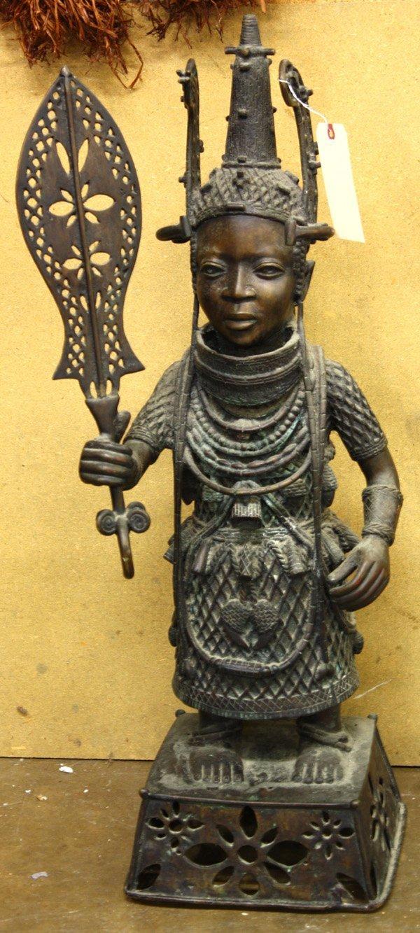 4245: Benin style bronze statue