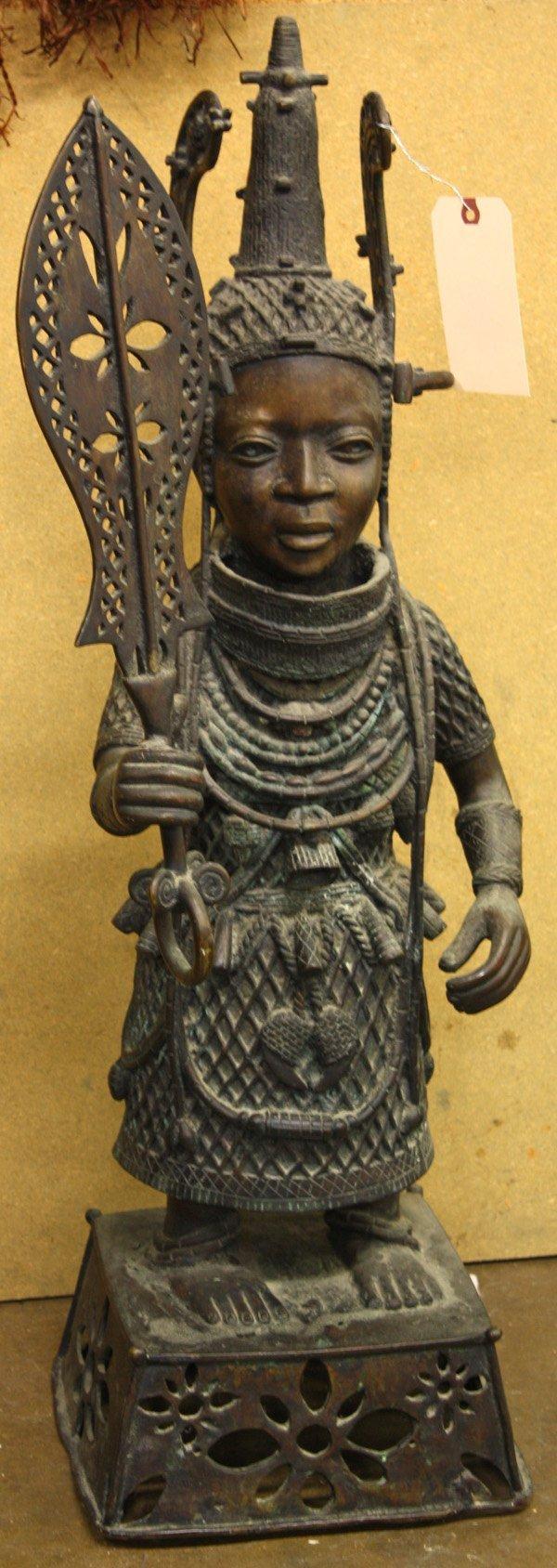4245: Benin style bronze statue - 2