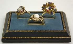 4765 14k gold womans rings pearls rubies sapphires
