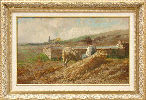 Painting, Farm with Boy, Lamb, Wheat, European