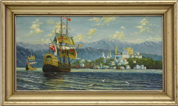 1: Painting, Spanish Ships Arriving at Harbor