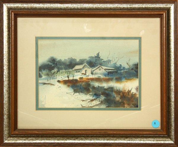 8: Watercolor, Lorraine Fiege, New England Farm