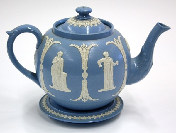 12: Wedgwood style blue and white teapot