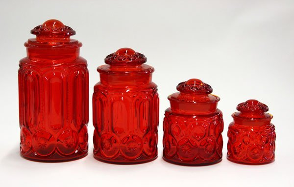 14: L.E. Smith Moon and Stars amberina glass canisters