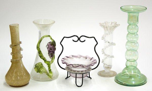 22: Art glass vases and basket