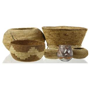 (lot of 6) Native American basketry group