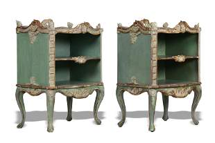 Pair of French Provincial style hand painted side