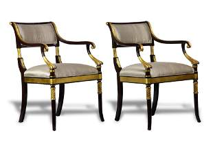Pair of English Regency style partial ebonized and
