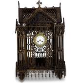 French Carved Cathedral Clock, executed in the Gothic