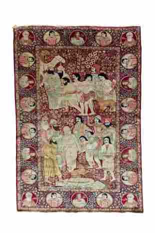 Persian antique scenic Kerman carpet depicting Yusuf