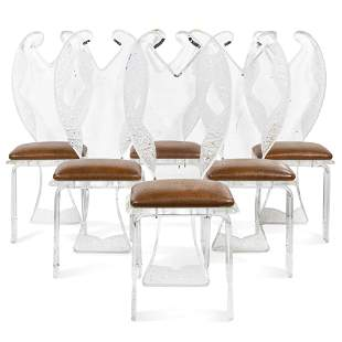 (lot of 6) Group of contemporary acrylic dining chairs