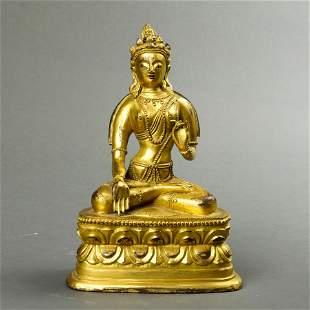 Sino-Tibetan gilt bronze figure of White Tara