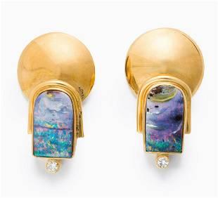 A pair of boulder opal, diamond and eighteen karat gold