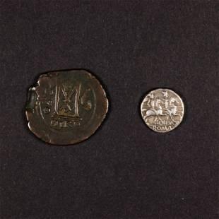 (2) Roman Lucreticus Trio 136BC & Byzantine Justin I
