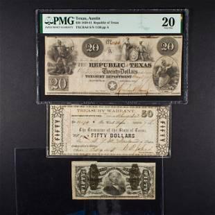 (Lot of 3) Republic of Texas $20 1839-1841 PMG VF20,