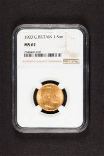 1903 Great Britain Gold sovereign NGC MS62