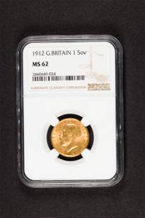 1912 Great Britain Gold sovereign NGC MS62