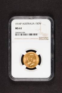 1914 Australia Perth gold sovereign NGC MS61