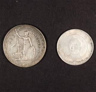Republic 1912 One Dollar trade dollar and Yunnan