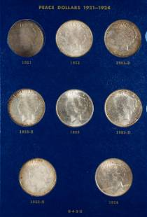 Peace Silver Dollar Collection 1921 - 1935