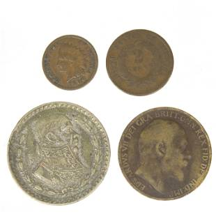 1905-1906 Indian Head Pennies, 1864 2 cent, British