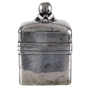 A Mexican Taxco sterling covered tea caddy