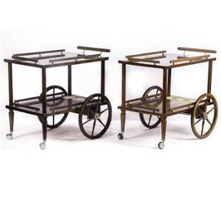 (lot of 2) Modern teak bar carts