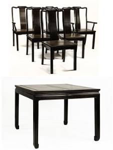 (lot of 7) Chinese hardwood dining suite