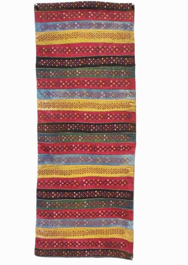 978: Zoroastian silk stripe textile; Yazd area