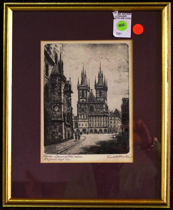 6023: Etching, Cathedral, Emil Waube