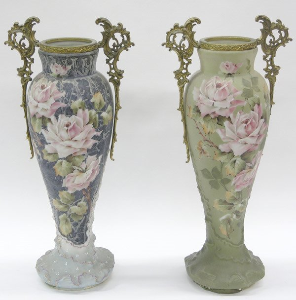 6157: Pair of decorated bristol glass vases