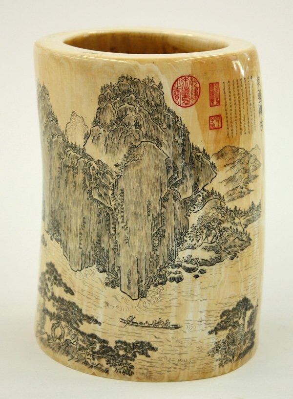 6595: Ivory Brush Pot, Chinese Landscape