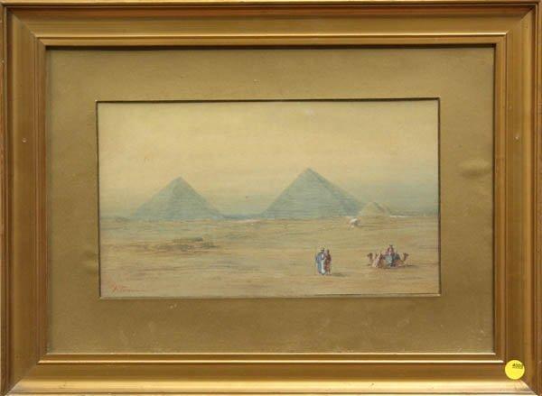 4008: Watercolor, F. Groom, Egyptian Scene Pyramids