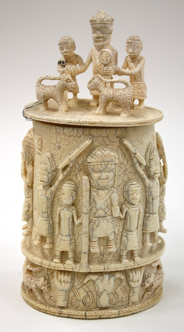 4203: Benin style carved ivory container