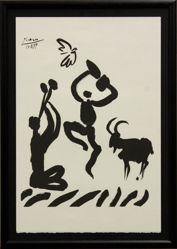 4521: Lithograph, after Picasso, Musician Dancer Goat