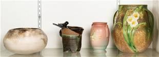 (lot of 4) Studio or art pottery vases