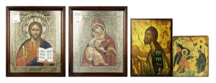 (lot of 4) Greek painted angel icon; a pair offset