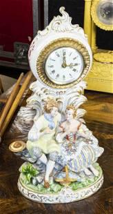 Dresden porcelain figural clock