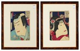 (Lot of 2) Toyohara kunichika (Japanese, 1835 - 1900)
