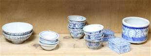 (lot of 17) Chinese blue and white wares