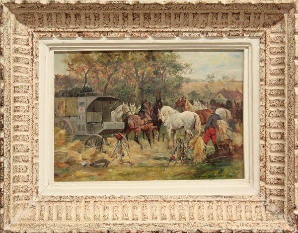 2002: Painting, Desvarreux, French Medics Feeding Horse