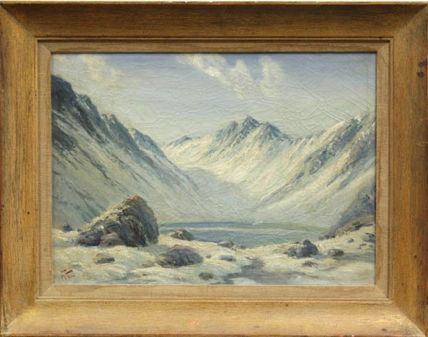 2201: Painting, F. Vial, Chile, Mountain Landscape