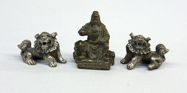5: Chinese Metal Weights, Fu Lions/Guan Yu