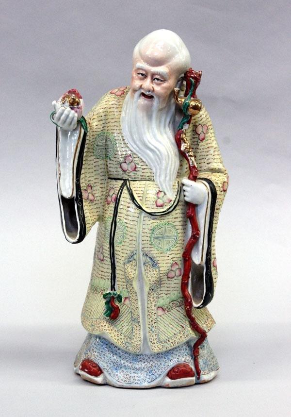 7: Chinese Enameled Porcelain Shoulao Figure