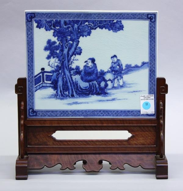 11: Chinese Porcelain Table Screen/Hardwood Stand