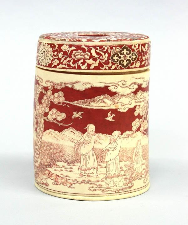 16: Chinese Polychromed Ivory Container