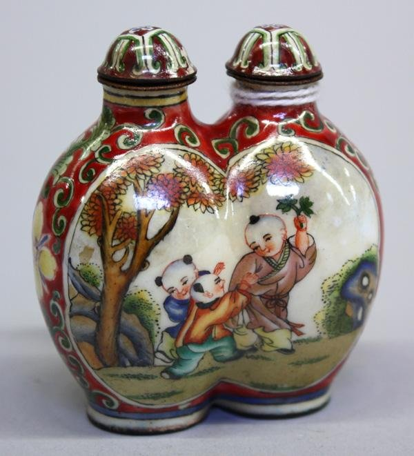 19: Canton Enamel Snuff Bottle, Children