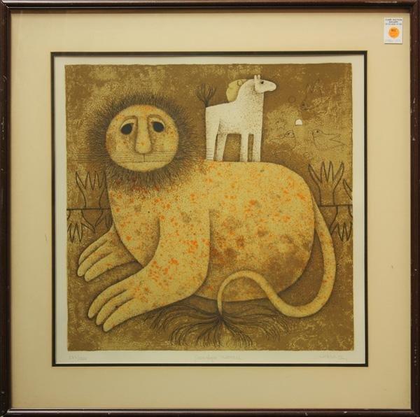 345: Lithograph, Carol Jablonsky, Leopards, Lion