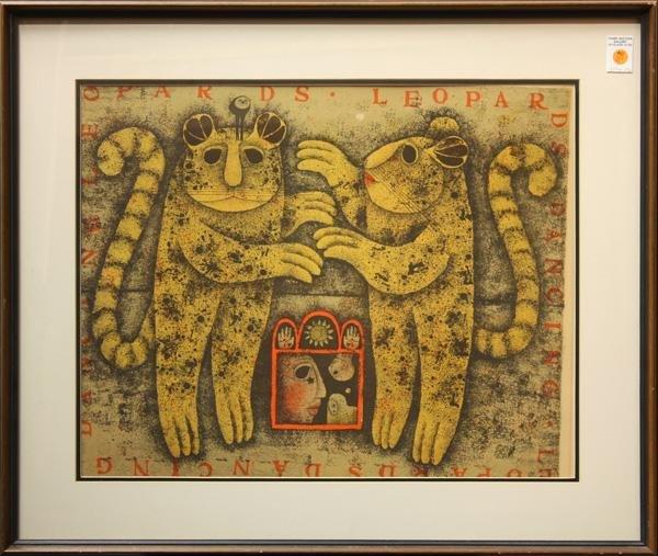 345: Lithograph, Carol Jablonsky, Leopards, Lion - 2