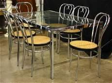 447: Modern chrome and glass dining set